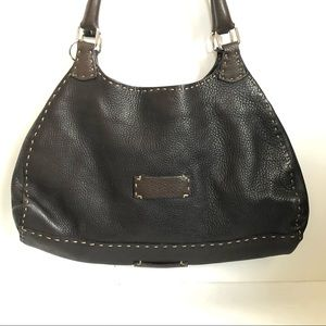 FENDI Selleria Black Leather Whipstich Satchel